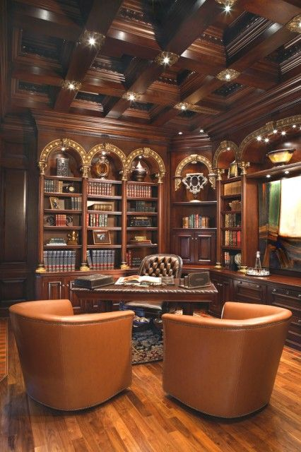 interiorstyledesign: Traditional library/study combination with rich mahogany paneling on the walls and ceilings, and gilded accents (via Venetian Office - traditional - home office - phoenix - by VM Concept Interior Design Studio)