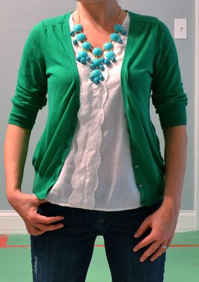 Outfit Posts: outfit post: kelly green cardigan, teal necklace