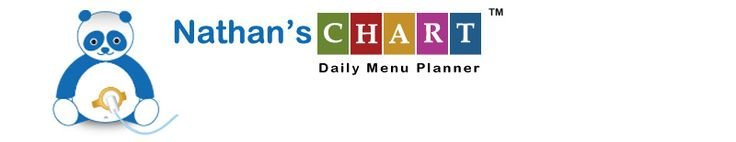 Daily menu planner for kids on feeding tubes.  Nathan's Chart logo and title