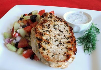 Greek-Style Pork Chops. I don't make pork chops often. Need to find ways to make them. This looks good.: Dinner, Pork Recipes, Greek Style Pork, Food, White Meat, Styles, Favorite Recipes, Pork Chops