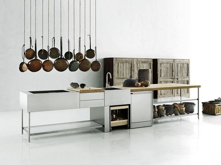 Stainless steel kitchen / outdoor kitchen OPEN by Boffi design Piero Lissoni