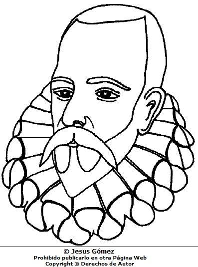 Miguel de Cervantes Saavedra sin pintar para niños | Don Quijote ...
