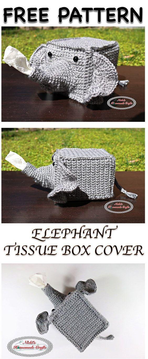 Elephant Tissue Box Cover Free Crochet Pattern