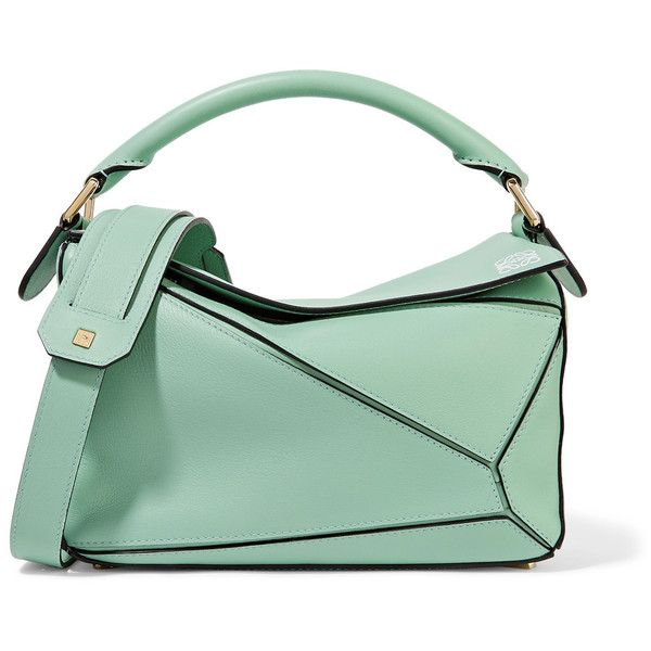 LoewePuzzle Small Leather Shoulder Bag (2 850 AUD) ❤ liked on Polyvore featuring bags, handbags, shoulder bags, mint, genuine leather purse, mint purse, green leather handbag, green leather purse and green handbags