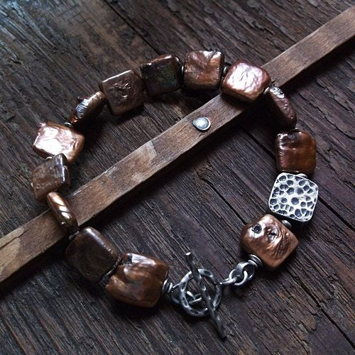 COCOA and COPPER BROWN, square pearls, freshwater pearls, copper brown pearls, sterling silver, copper brown bracelet, pearl bracelet by pieceofmysoulArt on Etsy