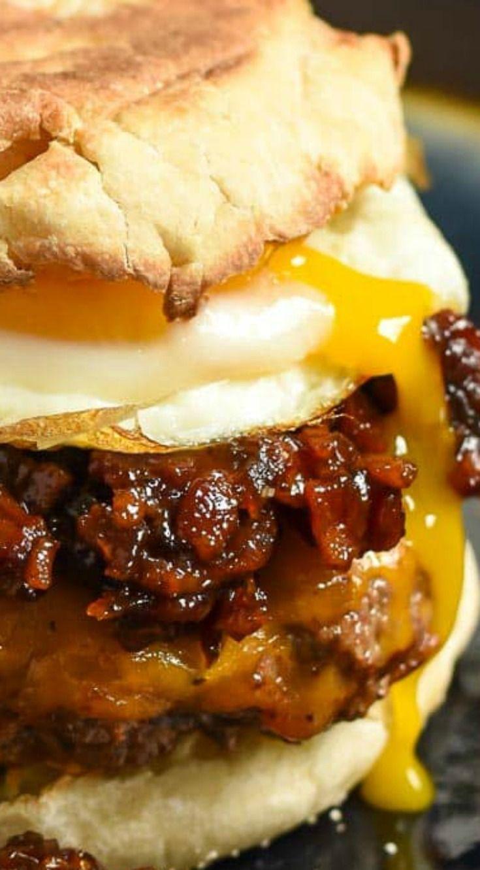 Breakfast Burger with Bourbon Bacon Jam ~ Piled high with Bourbon Bacon Jam, melty cheese, and a fried egg... A breakfast game changer!
