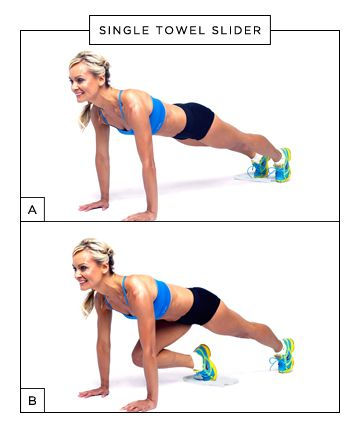 """Place a small hand towel underneath your toes (image A). Bend your knee and draw it underneath you toward your chest, sliding the towel along the floor (image B). Extend your leg back to position one to complete one repetition. Switch legs and repeat. Do 5-10 reps, each leg."""""""