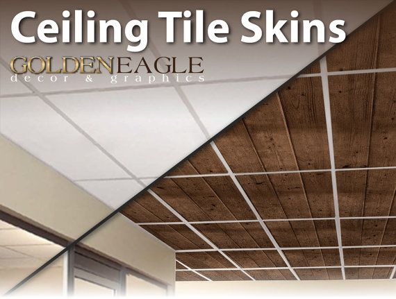 change the look of your drop ceiling with ceiling tile skins from golden eagle dcor and graphics convert your plain old drop ceiling tiles into a gorgeous