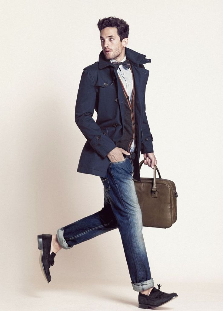 H.E. by Mango September 2012 Lookbook.: Men Clothing, Fashion Men, Bows Ties, Jeans Outfits, Male Style, Men Bowties, Men Fashion, Trench Coats, The Cardigans