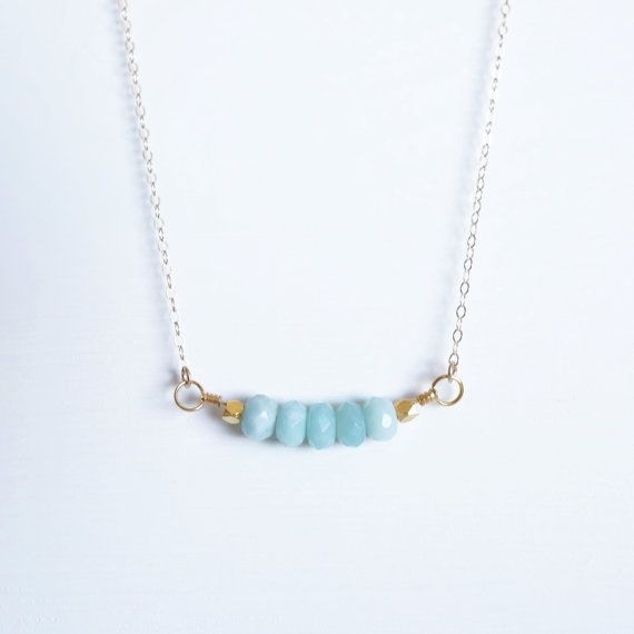 Amazonite beaded Necklace . Goldfilled stone jewellery by SHAZOEY, $54.00