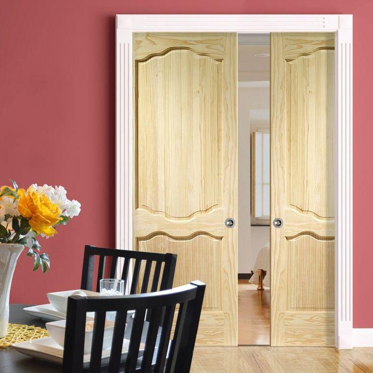 Double Pocket Louis Clear Pine Door. #pocketdoors #pinepocketdoors #elegantpocketdoors