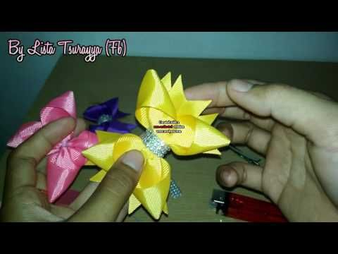 "DIY Jepit Rambut Pita Simple 01 dari pita grosgrain 1"" / 2,5 cm Tutorial By Lista Tsurayya - YouTube"