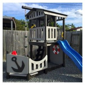wooden fort, wooden cubby house, pirate ship fort, pirate ship cubby house, fort for kids