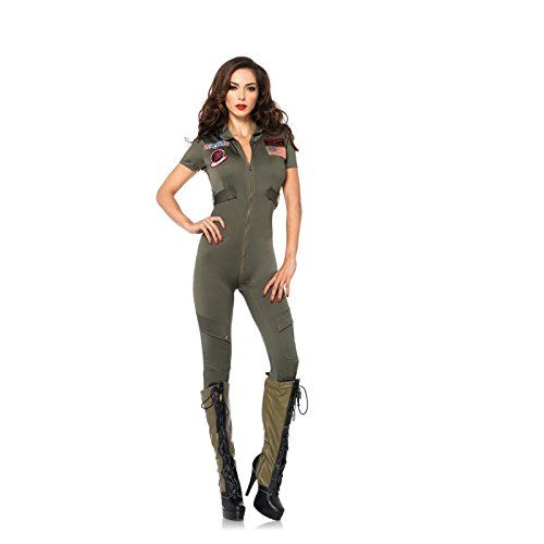 Leg Avenue Women's Top Gun Flight Suit Costume Khaki Medium