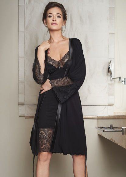 Black Dressing Gown - Vanilla Night & Day | Knicker Locker
