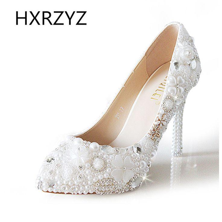 11 cm/5 cm Handmake Crystal Luxury White Pearl Rhinestone Wedding Shoes Women Pointed Toe High-heeled Single Shoes Bride Pumps