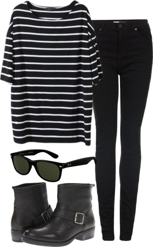 the striped tee and boots