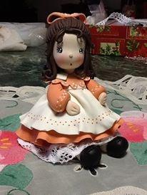 girl porcelana fria polymer clay pasta francesa masa flexible biscuit cake topper modelado modelling fimo