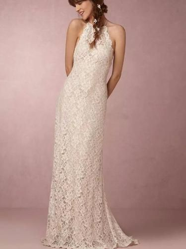 Lace Wedding Dresses Halter Sheath Column Short Train Bridal Gown JKW051 0bc5521cb