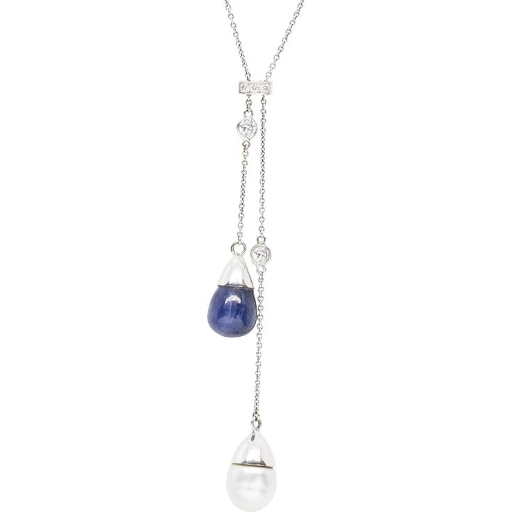 South Sea Pearl and Blue Star Sapphire Diamond Lariat Necklace 23.5""