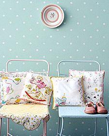 Handkerchief Nursery PillowIdeas, Polka Dots, Sewing Projects, Vintage Handkerchief, For Kids, Nurseries Pillows, Polka Dot Walls, Martha Stewart, Vintage Hankie