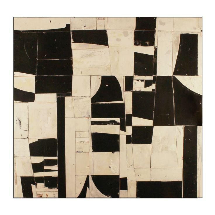 """Greg Pretty, Estragos, 2017, 45 x 47"""" acrylic and chalk on birch plywood pieces"""