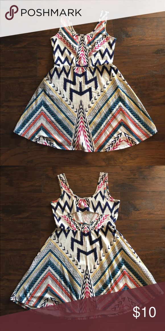 Aztec print dress with open back detail. Perfect for summer! Aztec print dress with open back detail. Excellent condition. Worn twice. Size Large. Xhilaration Dresses