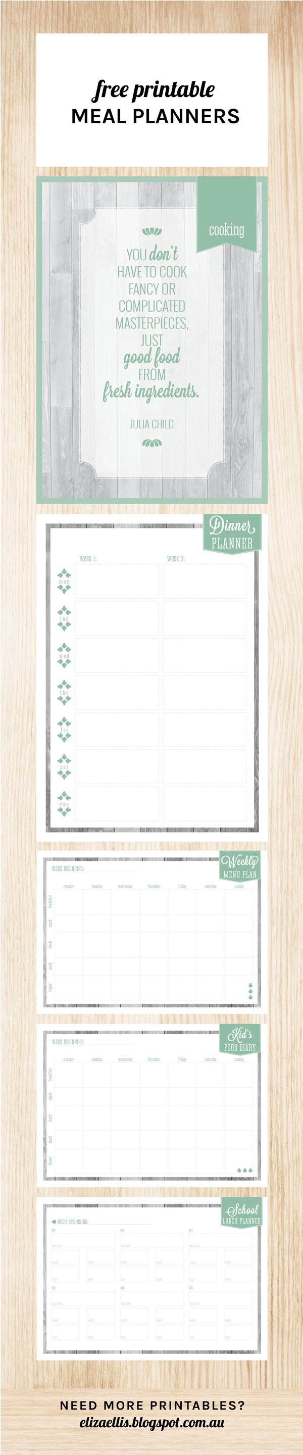 Free Printable Meal Planners by Eliza Ellis including dinner planner, weekly menu plan, kid's food diary and school lunch planner! Perfect for your home organizer, home management binder, control journal - and just to get your recipe collection more organized!