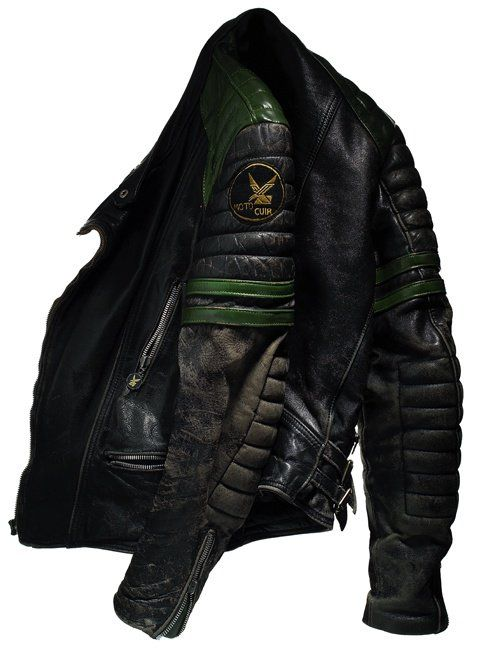worn leather motorcycle jacket from David Lewis Taylor