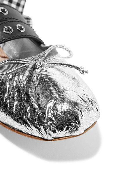 Miu Miu - Lace-up Metallic Leather Ballet Flats - Silver - IT38.5