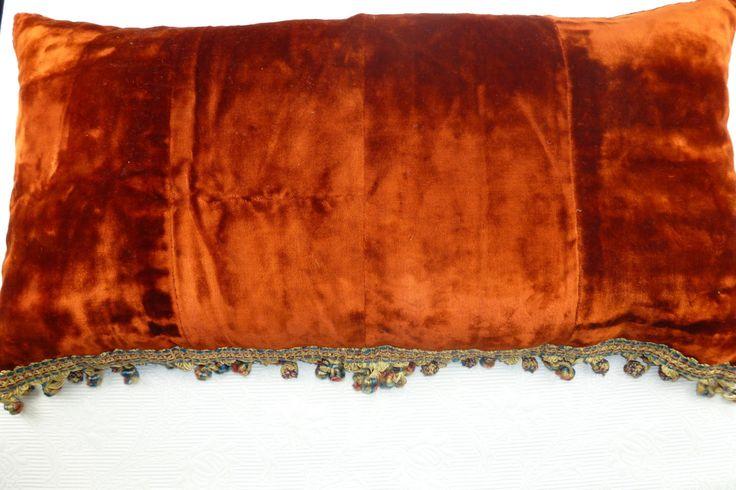 Antique+French+silk+velvet+boudoir+pillow+cushion+with+trim,+handmade+pillow+for+home+decor.+Vintage+silk+velvet+pillow+13,5x26,5+from+1800.+by+AntiquePillows+on+Etsy