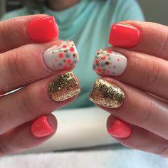 Bright nails confetti nails polka dot nails gold nails glitter nails coral nails neon nails summer nails cute nails gel nail art nail design