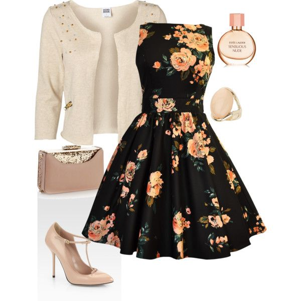 Inspired by the 50s, this would be a great wedding guest oufit.
