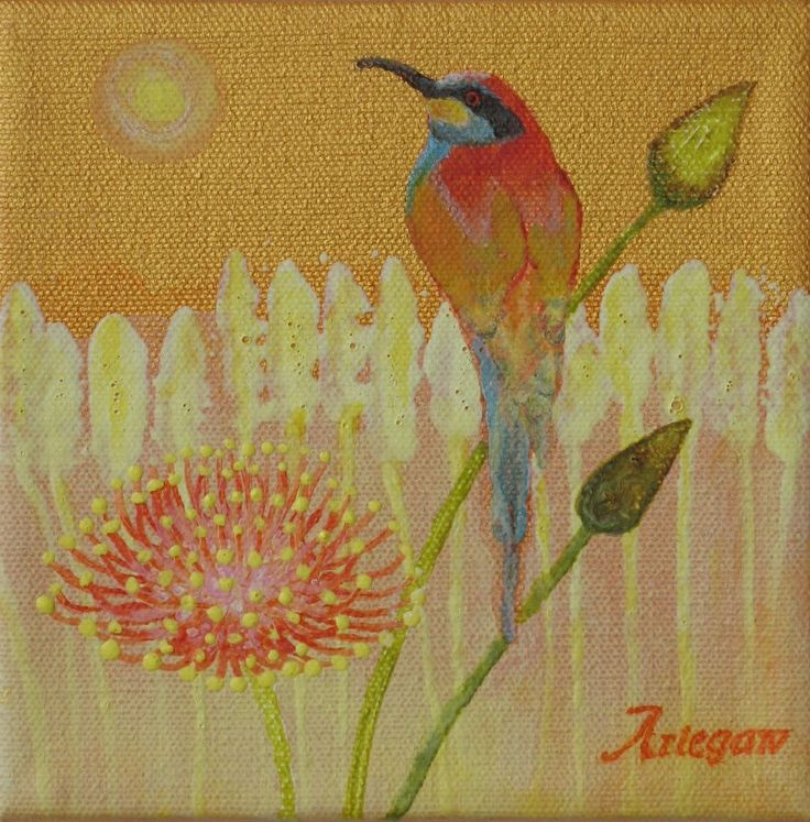 Original Bee Catcher Bird Acrylic Painting 6 by 6 on stretched canvas by StudioAriegaw on Etsy