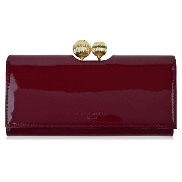 TED BAKER Kimmiko Purse (135 CAD) ❤ liked on Polyvore featuring bags, wallets, kisslock wallet, purple wallet, ted baker bag, patent bag and ted baker