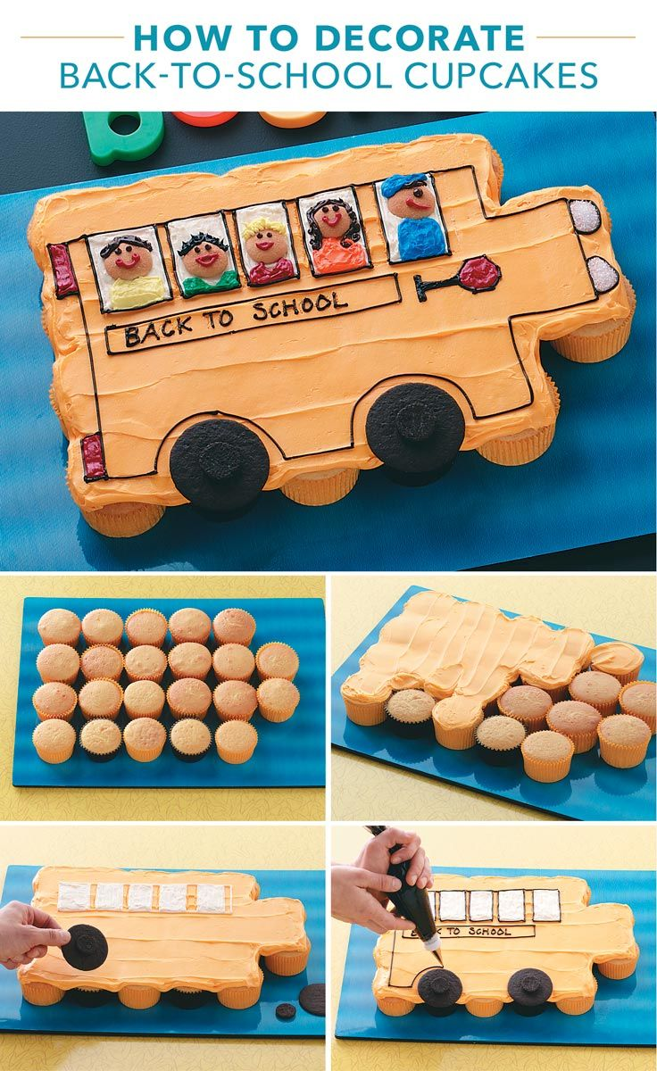 How to Decorate Back-to-School Cupcakes from Taste of Home | Gear up for school with this cute cupcake bus. We show you how to make it in six easy steps.