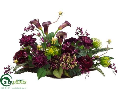Hydrangea, Cymbidium Orchid, Dahlia - Eggplant Green - Pack of 1