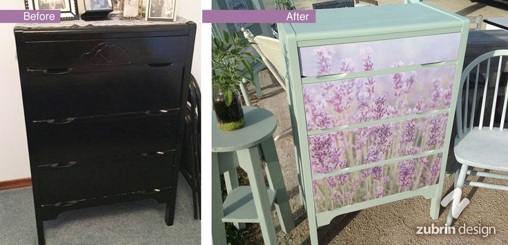 This black shiny dresser got a makeover with lavender flowers and Fusion paint! Sincerely, Zubrin Design on Facebook...