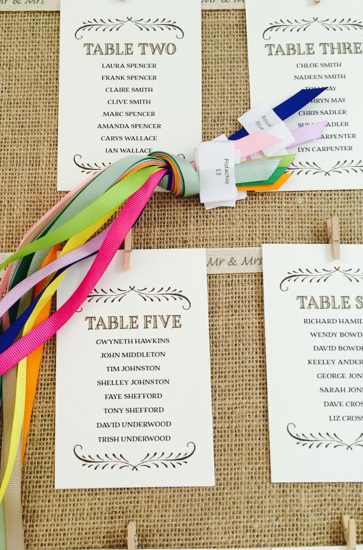 Our table plans can be customers designed - choose the colour ribbon to match your wedding theme.