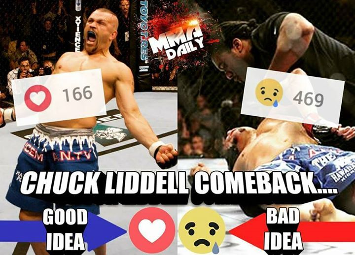 Yesterday we asked if a Chuck Liddell comeback was a good or bad idea? Unsurprisingly the majority of you think it's a bad idea! #mma #ufc