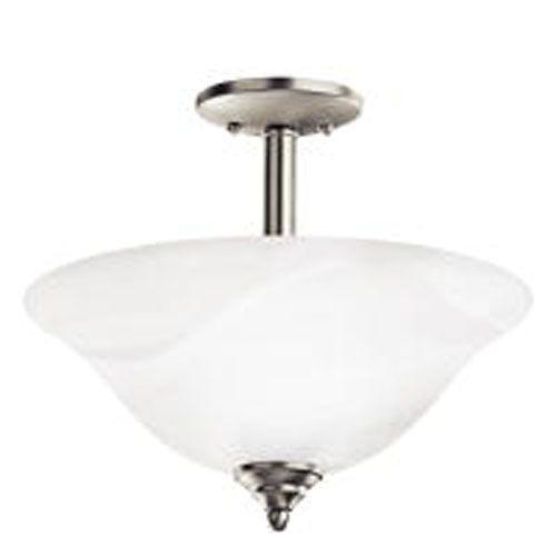 Brushed Nickel Two-Light Semi-Flush Light