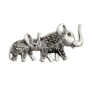 Sterling Silver Brooch and Pin Indian Jewellery Elephant and Pup Marcasite Length 3.81 cm: ShalinCraft: Amazon.co.uk: Jewellery