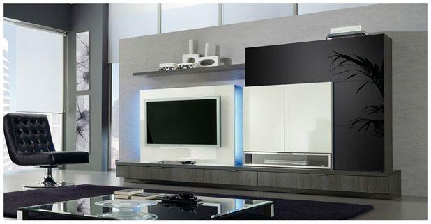 Salones mueble sal n con cristal lacado y m dulo tv plana for Muebles de salon con luz led