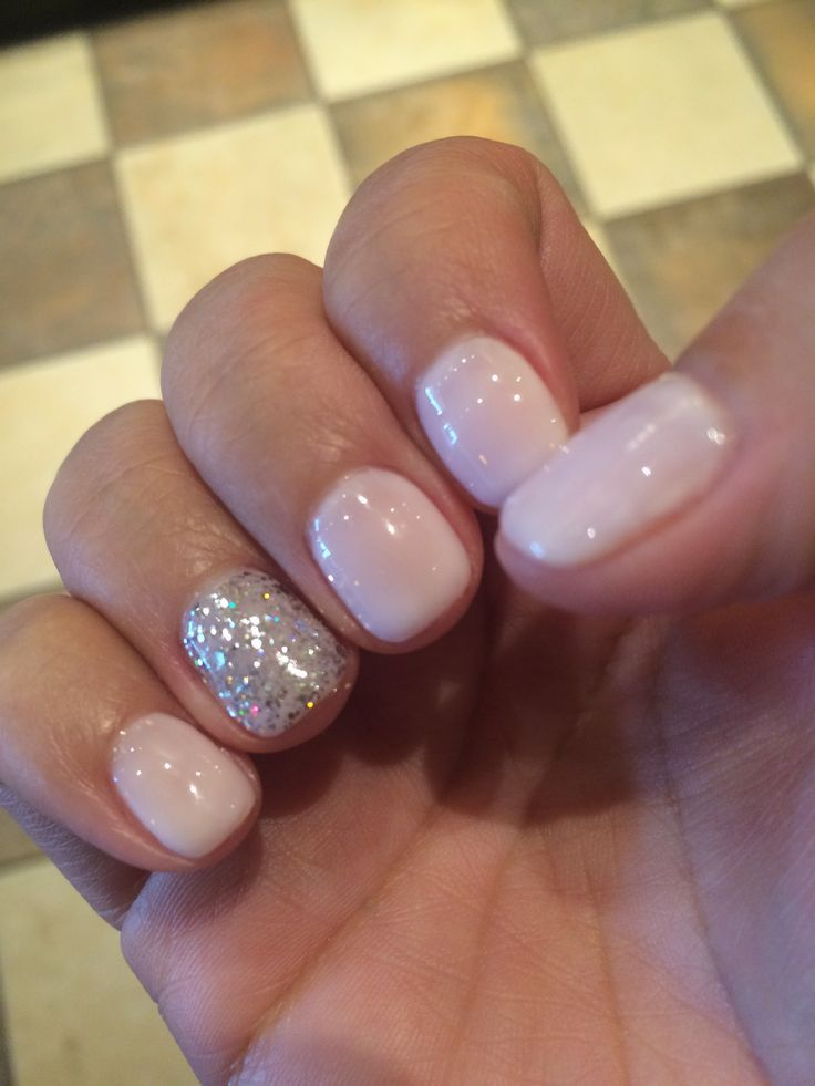 Vegas nails! No chip manicure using Gelish Romantique with silver sparkle Nail Design, Nail Art, Nail Salon, Irvine, Newport Beach