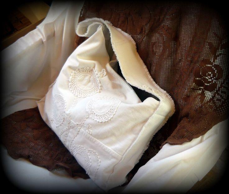 Handmade by Judy Majoros-White denim bag. Crochet bag. Hobo bag. Recycled bag.