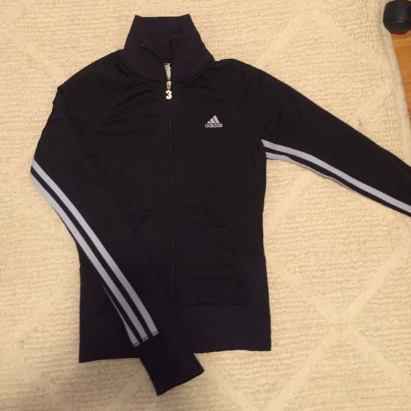 Adidas Zip Up Form fitting classic adidas. Only worn several times. Adidas Tops Sweatshirts & Hoodies