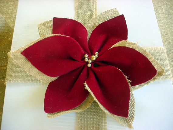 Burlap Christmas Poinsettia Ornament. Vintage by TheSunParlor, $7.00 -- Beautiful!