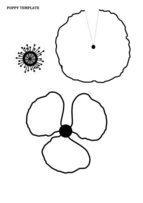 Remembrance day poppy craft for kids with free printable template for red paper or card