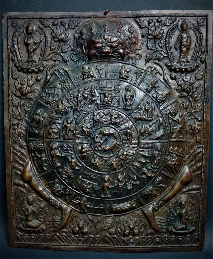 Kali Thangka Mandala Plaque Antique 19th Century Nepalese Repousse Copper-Tibet #Tibet #Kali #Thangka #KaliThangka #Mandala #CopperPlaque #AsianAntique #Repousse #CopperRepousse