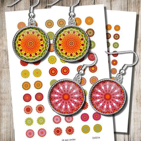 Autumn Colors Mandala Images Digital Collage Sheet 12 mm